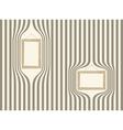 Wooden frame on striped wallpaper vector image vector image