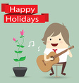 Businessman is playing a guitar flower happy vector image