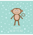Cute monkey on snow background Happy New Year 2016 vector image