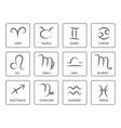 monochrome icon set with zodiac symbols vector image