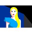 Beautiful blonde woman in assimmetrical dress vector image