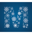 Letter M font frosty snowflakes vector image