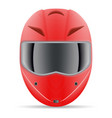 red motorcycle helmet front view isolated on a vector image