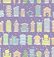 Winter city seamless pattern Snowfall Skyscrapers vector image