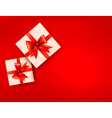 Red holiday background with gift boxes with red vector image