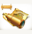 map and spyglass adventure 3d icon vector image
