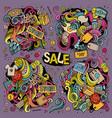 cartoon set of sale doodles designs vector image