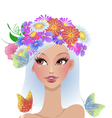 beautiful girl with flowers on her head vector image vector image