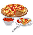 pizza with tomato sauce vector image vector image