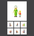 flat icon people set of grandpa grandson grandma vector image
