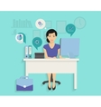 Woman with computer vector image