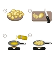 Step by step recipe of fried potatoes vector image