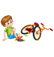 Boy fallen off the bicycle vector image vector image
