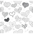 Seamless Pattern Sketch Romantic Love Hearts Retro vector image