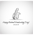 Card for national handwriting day vector image