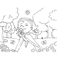 Coloring Red riding hood with flowers vector image