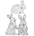 Coloring set rabbits vector image
