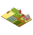 Farm Isometric View vector image