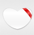White paper heart with red ribbon vector image