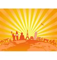 travel around the world on golden sunburst vector image vector image