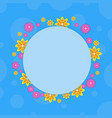 frame with flower on blue backgrounds vector image