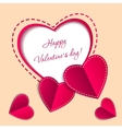 Valentines day card with paper hearts vector image vector image