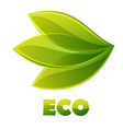 eco logo green leaves vector image vector image