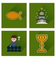 Concept of flat icons with long shadow vector image
