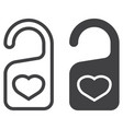 do not disturb with heart line and glyph icon vector image