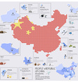 Dot And Flag Map Of China Infographic Design vector image