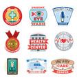 medical emblem vintage tag vector image