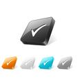 3d web button with check mark icon vector image vector image