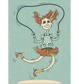 girl playing with a skipping rope vector image vector image