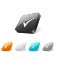 3d web button with check mark icon vector image