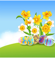 Cartoon of Eggs Easter and flower vector image
