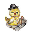 chick owl in a top hat and a cane vector image