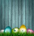 Easter Wooden Background vector image