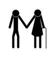 elder people stick black color icon vector image