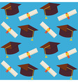 Flat Seamless Pattern Graduate from School Hat and vector image