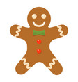 gingerbread man flat icon new year and christmas vector image