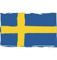 grunge sweden flag or banner vector image