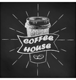 Blackboard with coffee cup sketch vector image
