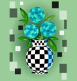 cubist bouquet with blue flowers in checker vector image vector image