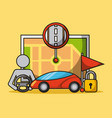 autonomous car driverless vehicle security map vector image