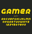 gamer decorative italic font design vector image