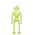 green grunge robot doodle on a white vector image