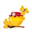 Honey Jar Spoon And Honeycombs With Bee Cartoon vector image
