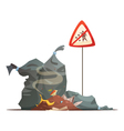 Warning Sign Garbage Disposal Cartoon Icon vector image