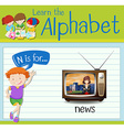 Flashcard letter N is for news vector image