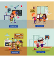 children hobbies square concept vector image